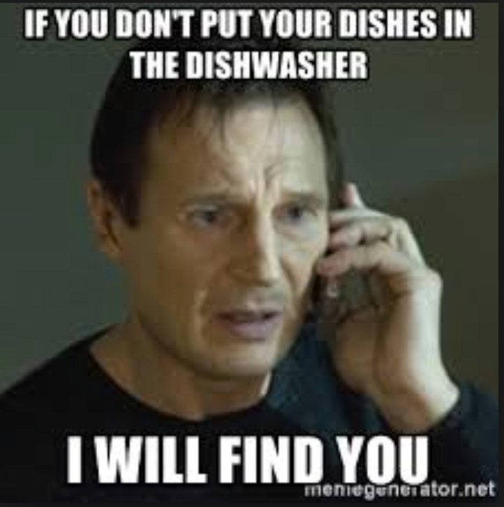 Dishes Are Rinsed and Put in Dishwasher